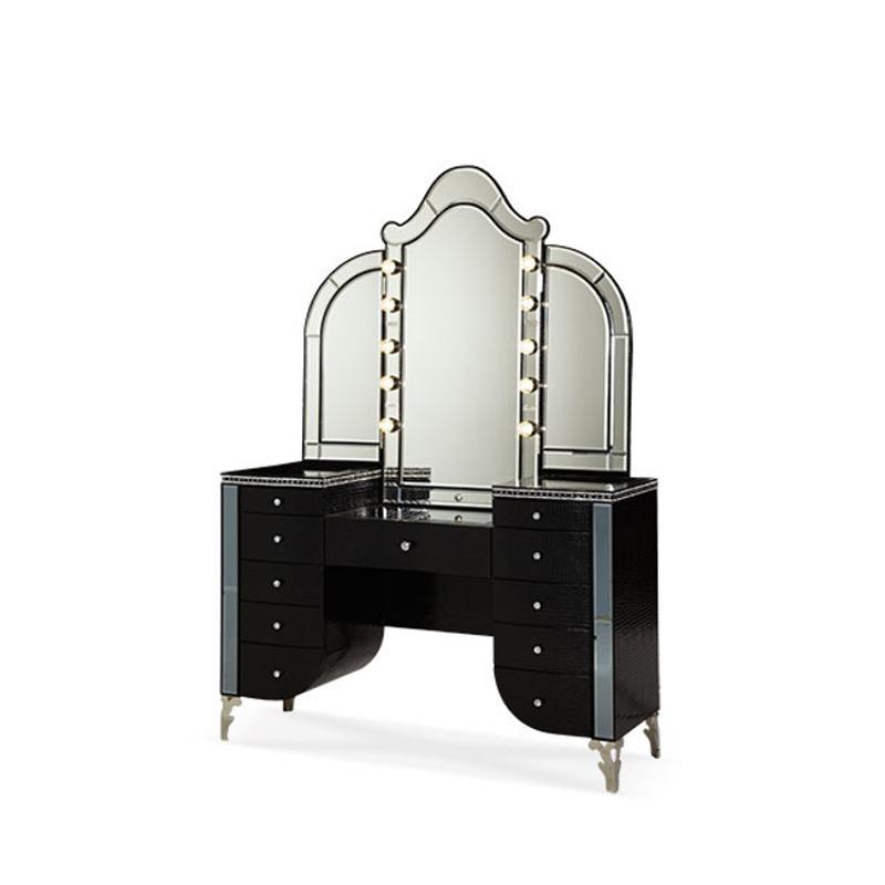 03058 81 Aico Furniture Upholstered Vanity Black Iguana