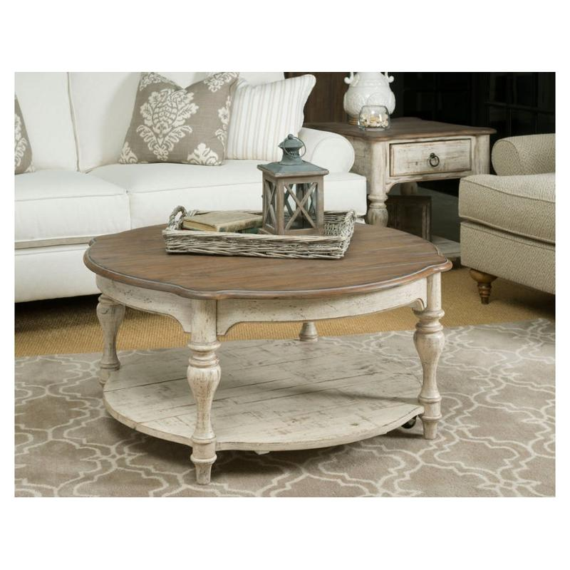 Beau 75 024 Kincaid Furniture Weatherford   Cornsilk Bolton Round Cocktail Table