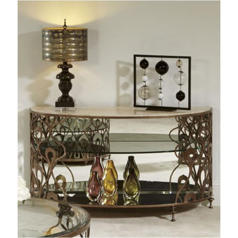 308 925 American Drew Furniture Bob Mackie Home Demi Lune Sofa Table Metal