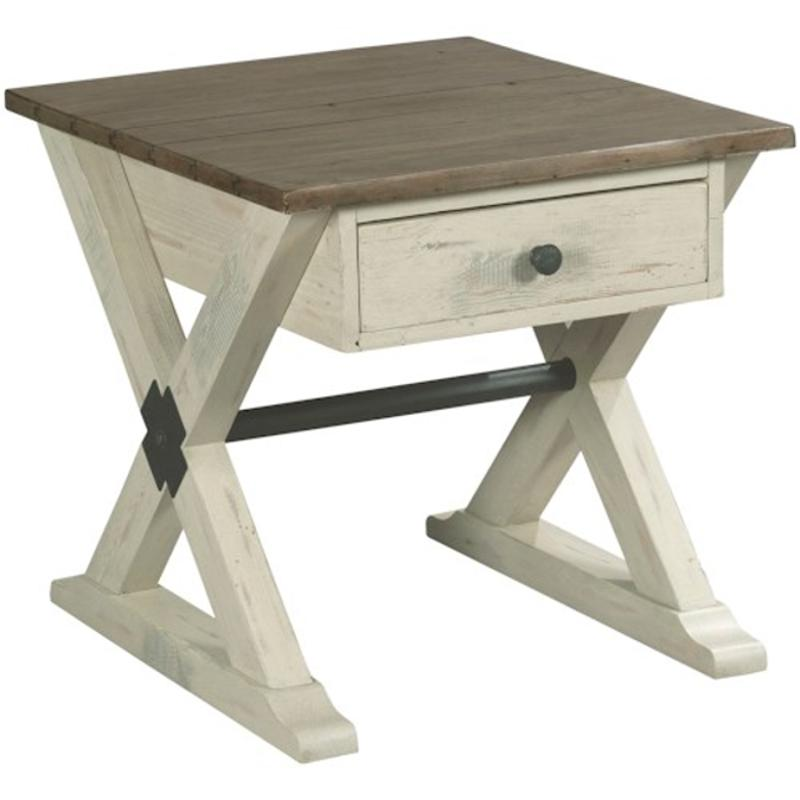 523 915w Hammary Furniture Reclamation Place Trestle Drawer End Table