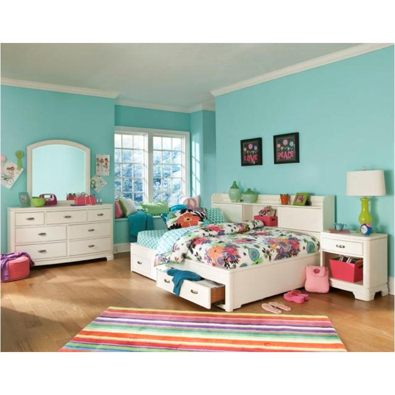 9910 5500 Fl Legacy Classic Furniture Park City White Full Lounge Bookcase Storage Bed