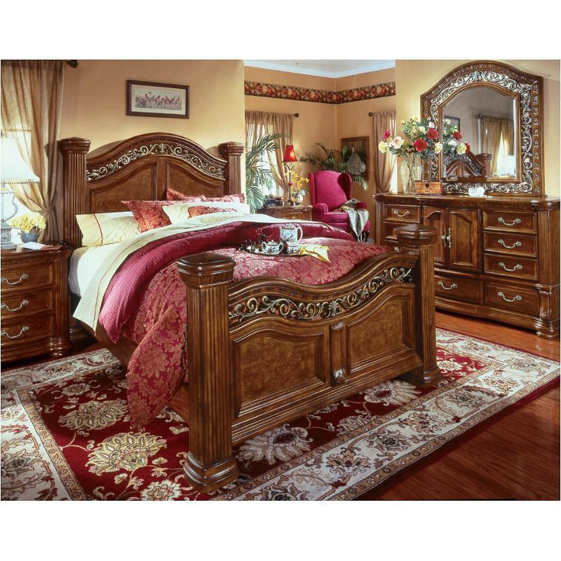 1635-94 Flexsteel Wynwood Furniture Queen Mansion Bed-pine