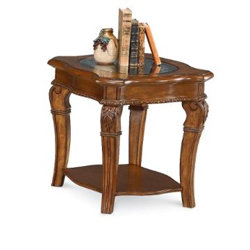 1635 05 flexsteel wynwood furniture end table with glass top pine for Wynwood furniture bedroom set cordoba