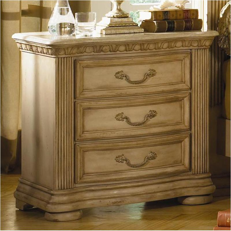 1636 651 Flexsteel Wynwood Furniture Night Stand With Marble Top Antiguo Blanco on Antique Living Room Furniture Sets