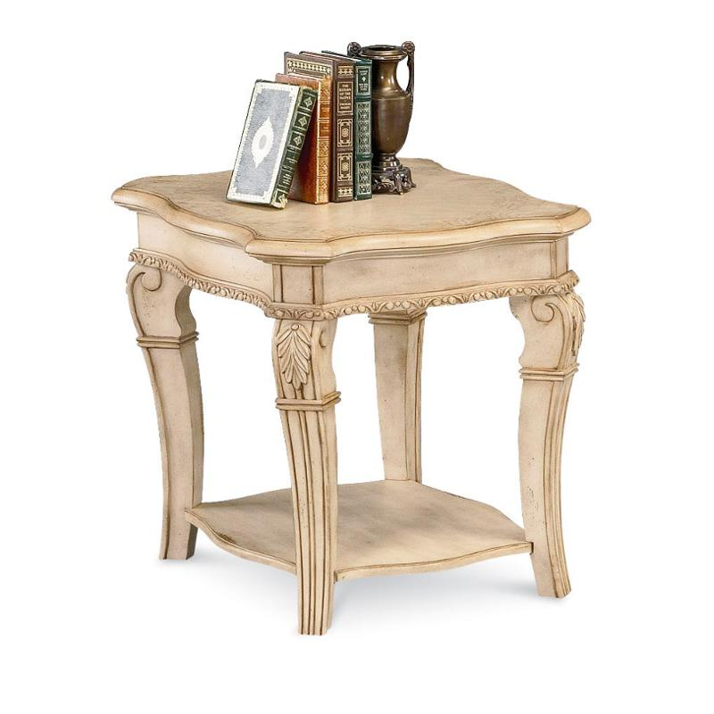 1636 04 Flexsteel Wynwood Furniture Cordoba   Antiguo Blanco End Table With  Wood Top Antiguo Blanco