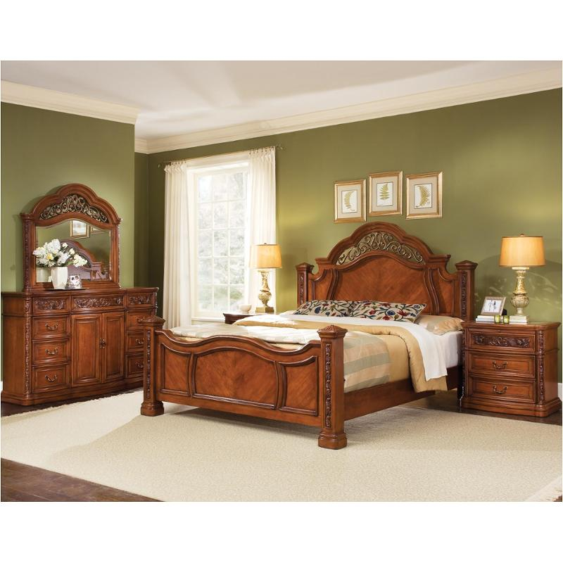 1759 90k1 Flexsteel Wynwood Furniture Terrassa   Amber Cherry Light Bedroom  Bed