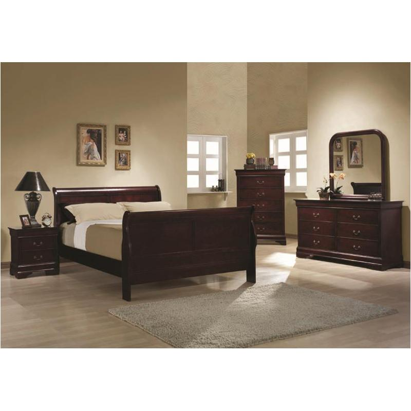 Superior 203971qb1 Coaster Furniture Louis Philippe   Cherry Bedroom Bed