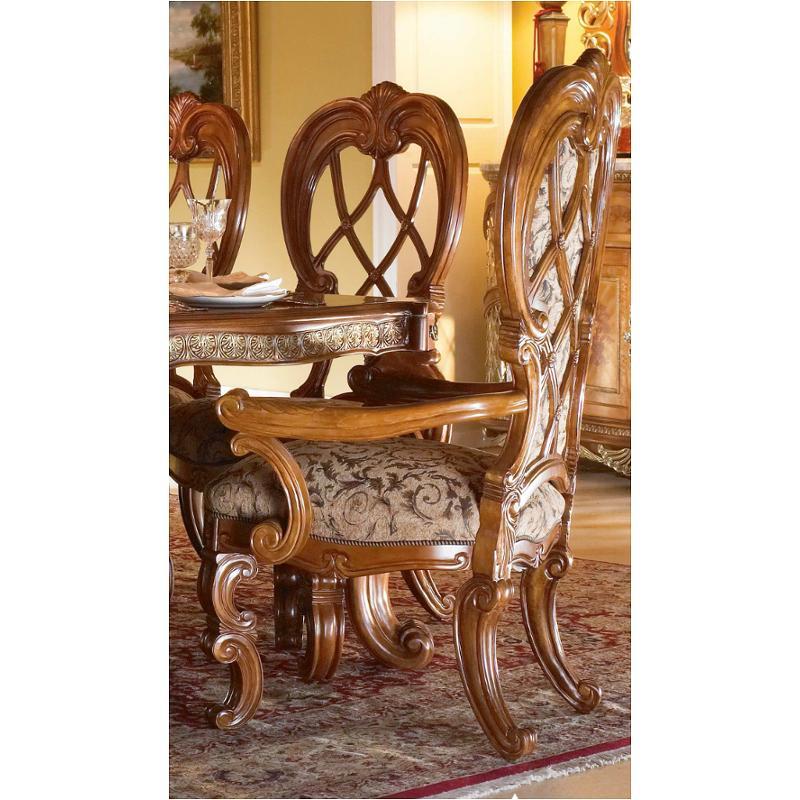 68004 28 Aico Furniture Venetian Arm Chair Upholstered Honey Walnut