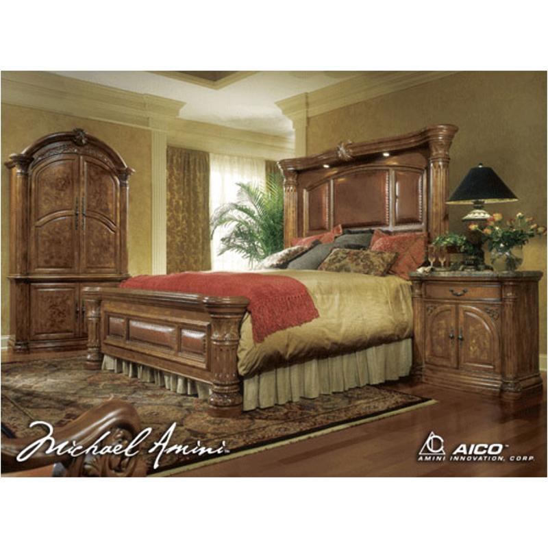 53014t 24 Aico Furniture Monte Carlo Pecan Bedroom Bed