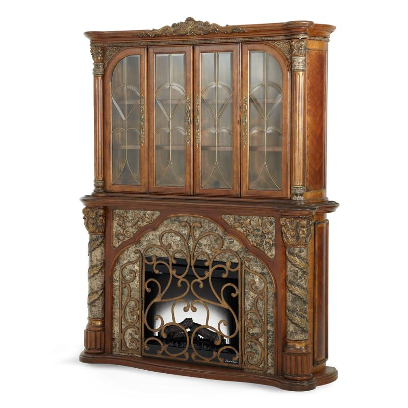 72221lb 55 Aico Furniture Lighted Display Open Cabinet
