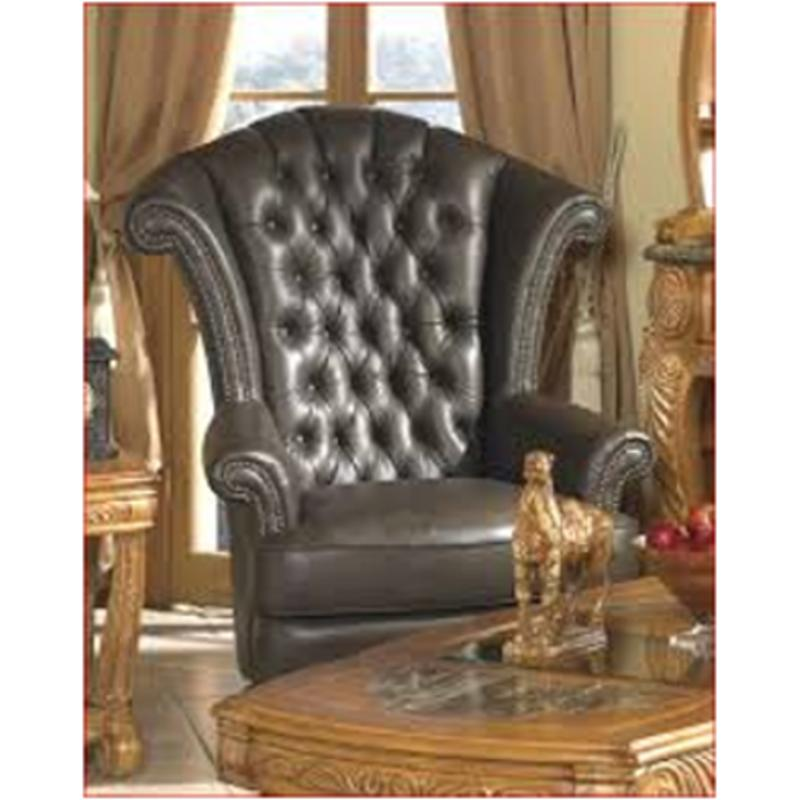 63936 Brown 25 Aico Furniture Trevi Leather High Back Wing Chair Espresso