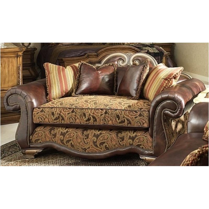 34925 Brick 26 Aico Furniture Leather Fabric High Back Loveseat