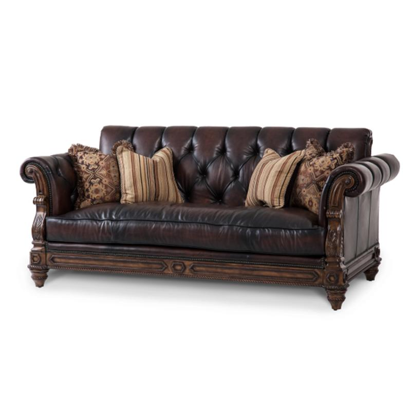37915-dkbrn-58 Aico Furniture Vizcaya Living Room Leather Sofa