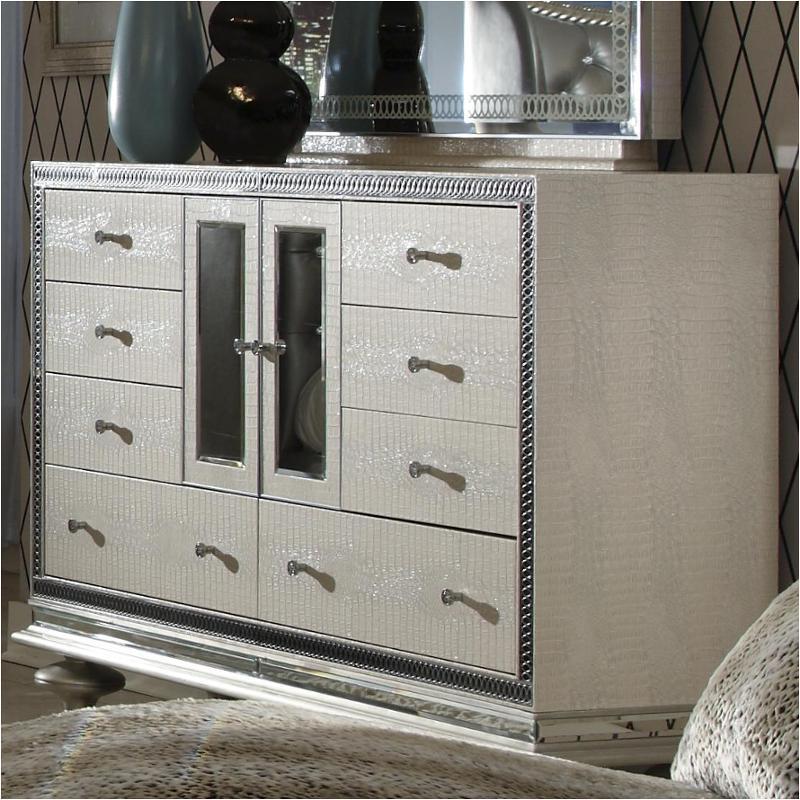 03050 09 Aico Furniture Upholstered Dresser Crystal Croc