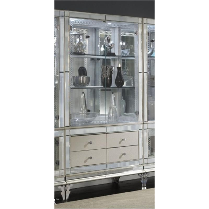 Nu03505t 11 Dr Aico Furniture Curio With Drawers Pearl Caviar