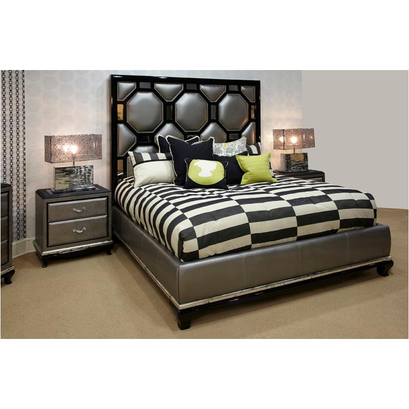 19012 88 Aico Furniture Queen Upholstered Bed Black Onyx