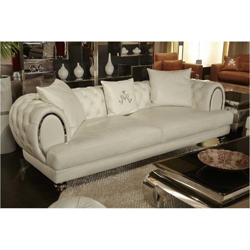 Mb Ellia15 Crm 13 Aico Furniture Leather Tufted Standard Sofa