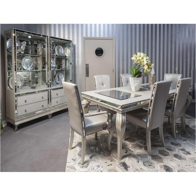 9001600t-104 Aico Furniture Hollywood Loft-frost 4 Leg Dining Table With  Glass Insert - Frost