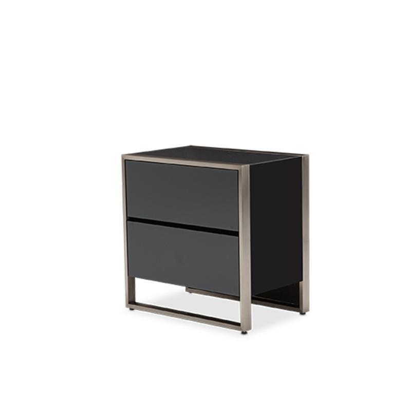 9010040 809 aico furniture metro lights bedroom metal for Metal night stands bedroom