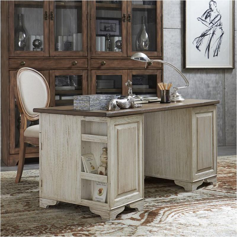 21230 Riverside Furniture Aberdeen 62in Pedestal Desk With Toasted Pecan Top