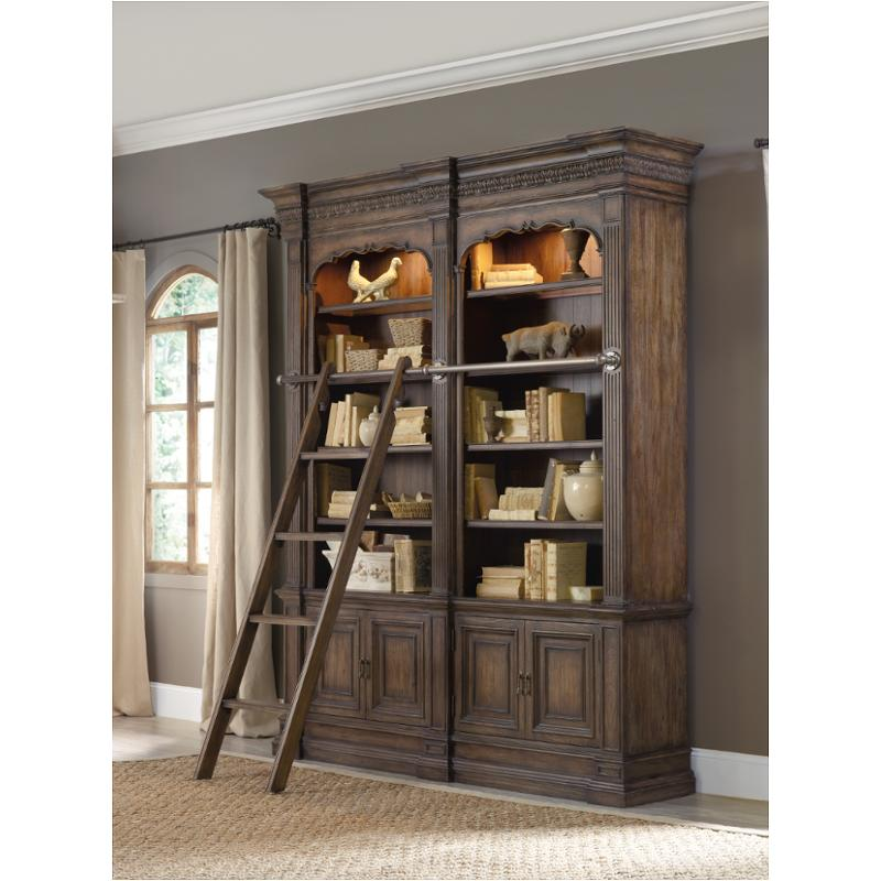 5070 10465 Ld Hooker Furniture Rhapsody Double Bookcase With Ladder And Rail