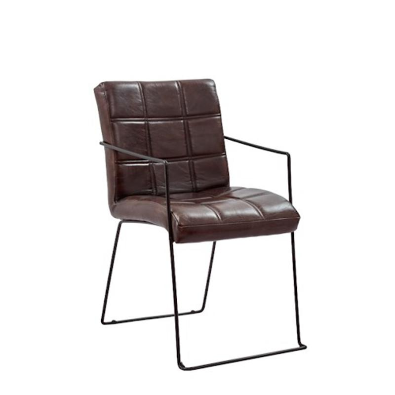 Awesome 1721 Dawson Jofran Furniture Modern Living Genuine Leather And Iron Dining Chair With Biscuit Stitching 2 Ctn Bralicious Painted Fabric Chair Ideas Braliciousco