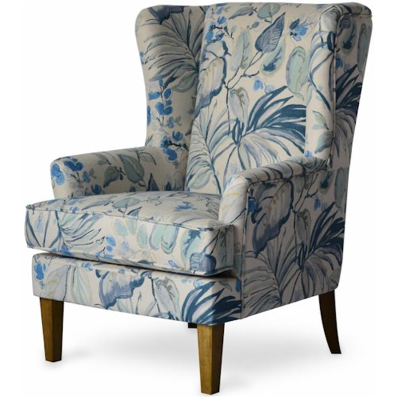 Pleasing Gabriela Ch Blue Jofran Furniture Gabriela Accent Chair With Modified Wingback And Tropical Pattern Gamerscity Chair Design For Home Gamerscityorg
