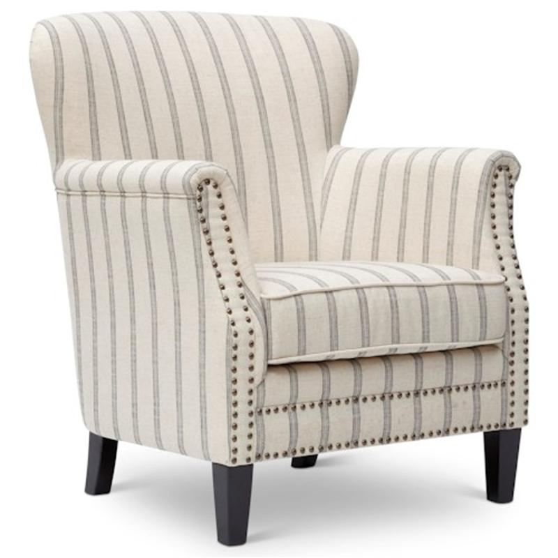Layla-ch-flax Jofran Furniture Layla Accent Chair With Striped Uph,  Nailhead Trim