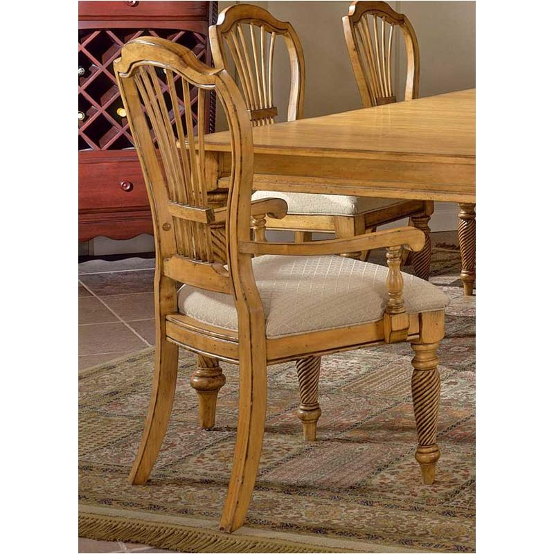 4507 805 Hillsdale Furniture Wilshire   Antique Pine Dining Chairs With  Arms   Antique Pine