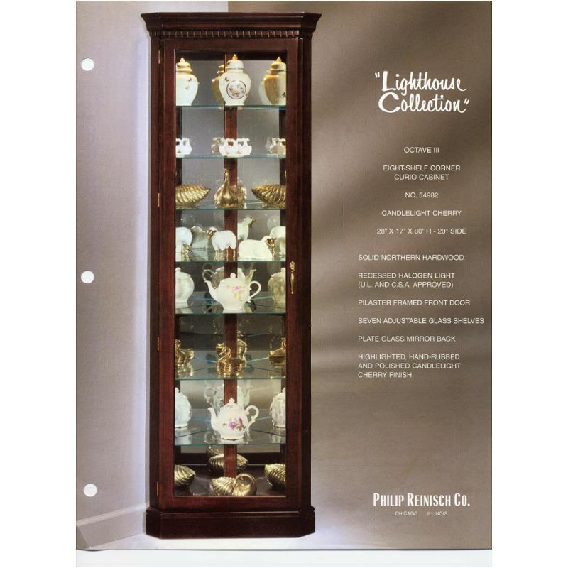 ... Cherry Octave Corner Curio Cabinet. 54982 Philip Reinisch Company  Lighthouse Accent Curio