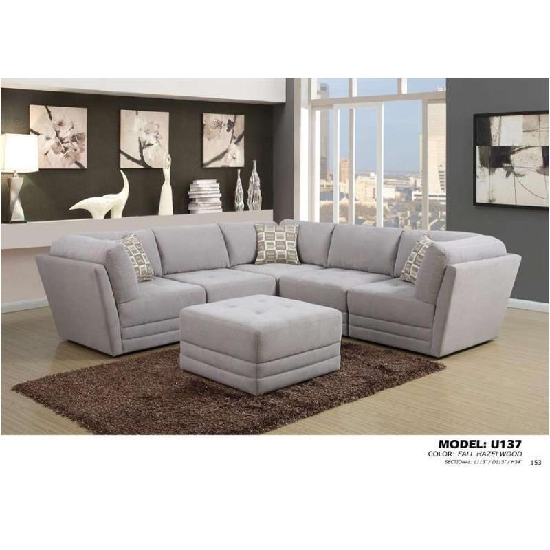 U137 Sectional A   Fabric   Fall Hazelwood Global Furniture U137   Fabric