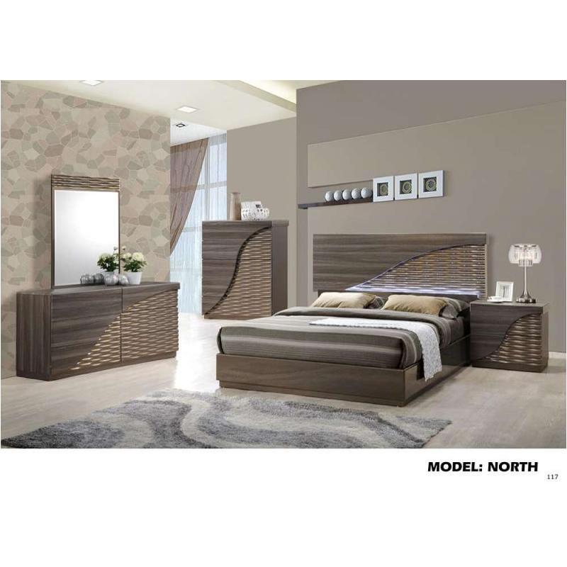 North-zg-qb Global Furniture Queen Bed - Zebra Wood - Gold Line