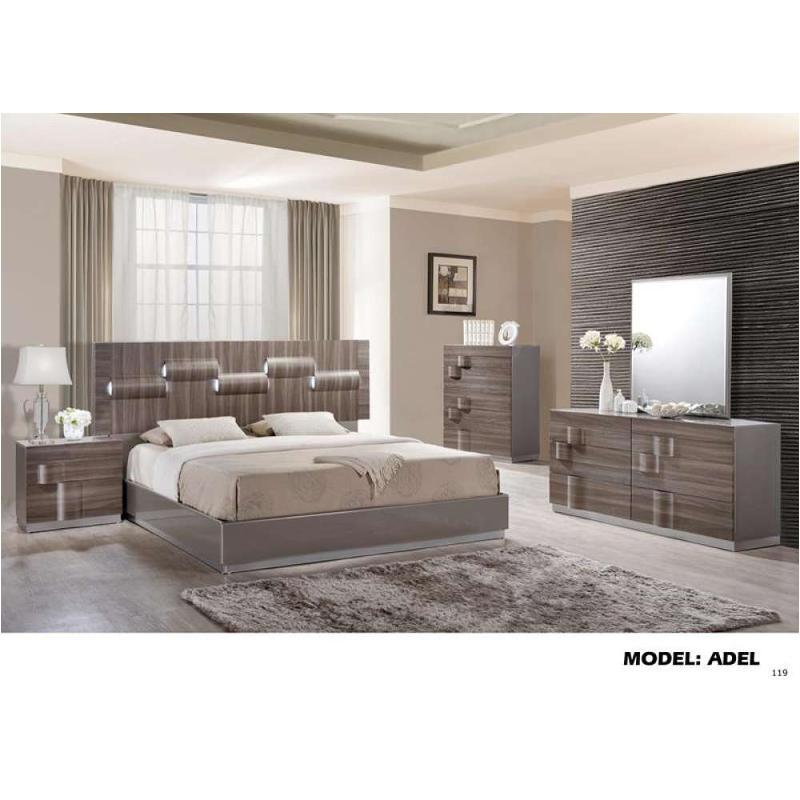 Adel-gz-qb Global Furniture Queen Bed - Grey Hg And Zebra Wood