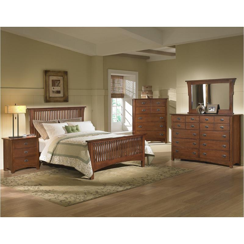 320 557 Vaughan Bassett Furniture Queen Mission Slat Bed Dark Oak