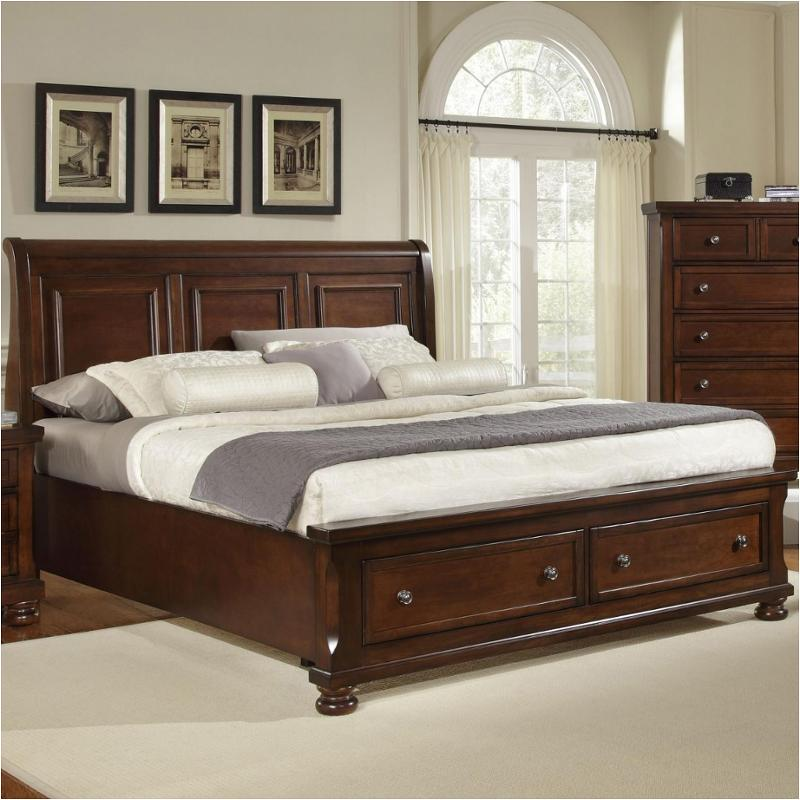 530 553 St Vaughan Bassett Furniture Reflections   Dark Cherry Bedroom Bed