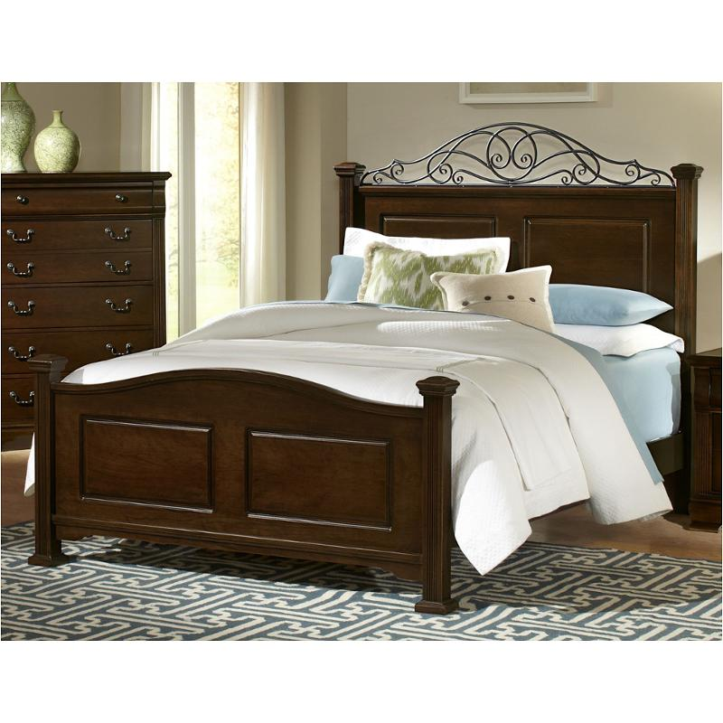 Bb1-558 Vaughan Bassett Furniture Addison - Dark Cherry Queen Arched Panel  Bed With Metal Accent - Dark Cherry