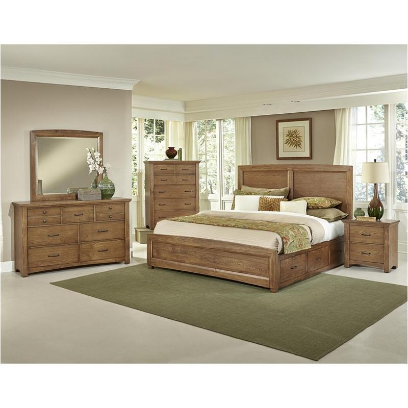 Bb63-668-st2 Vaughan Bassett Furniture Transitions - Dark Oak King Panel  Bed With Two Side Storage - Dark Oak