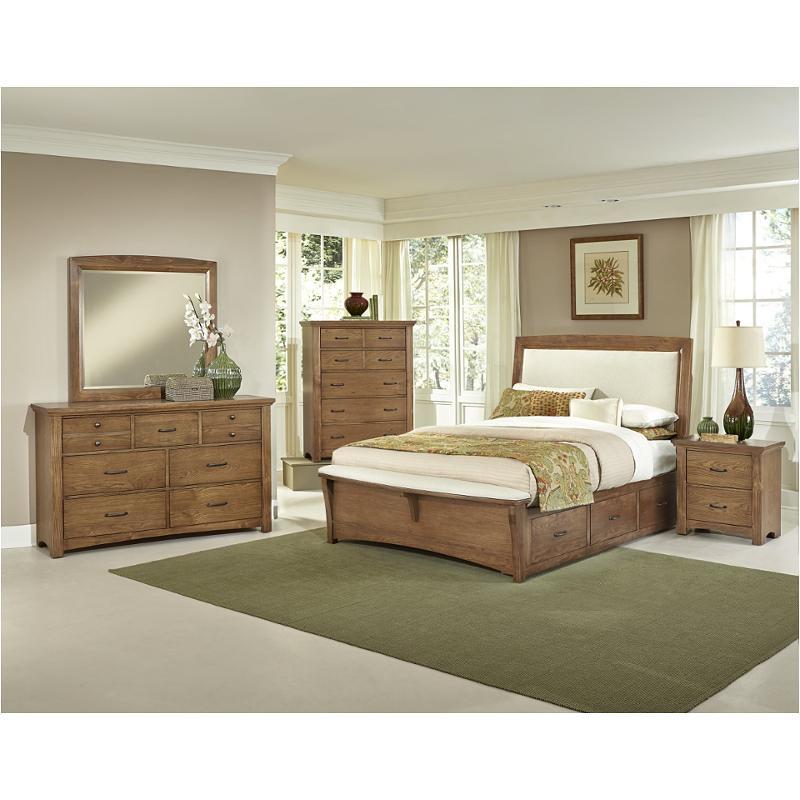 Bb63-669-st2 Vaughan Bassett Furniture Transitions - Dark Oak King  Upholstered Bed With Two Side Storage - Dark Oak