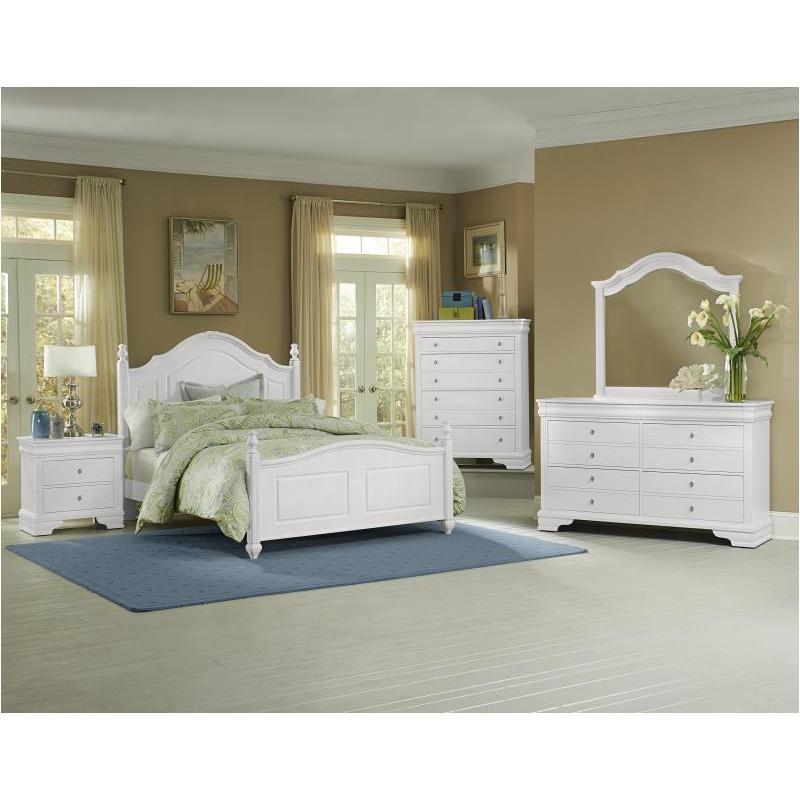 384-668 Vaughan Bassett Furniture French Market - Soft White Eastern King  Poster Bed - Soft White