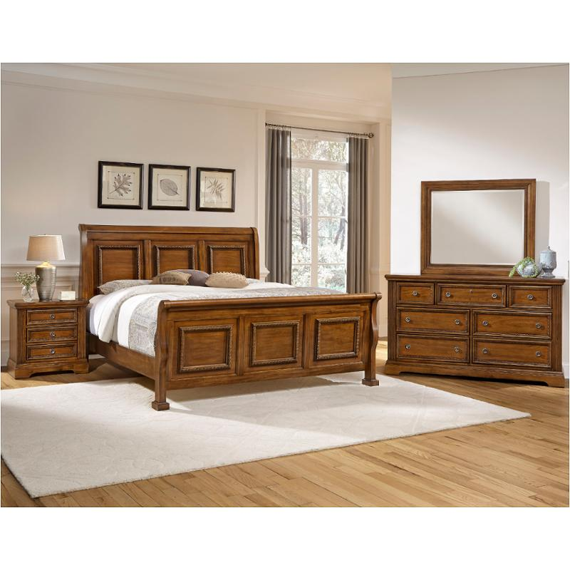 562-553 Vaughan Bassett Furniture Affinity-antique Cherry Bedroom Bed - 562-553 Vaughan Bassett Furniture Queen Sleigh Bed