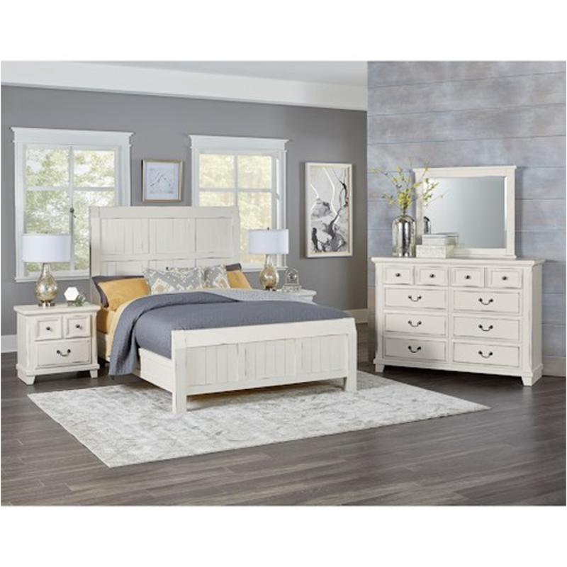 674 669 Vaughan Bassett Furniture Timber Creek   Distressed White Bedroom  Bed