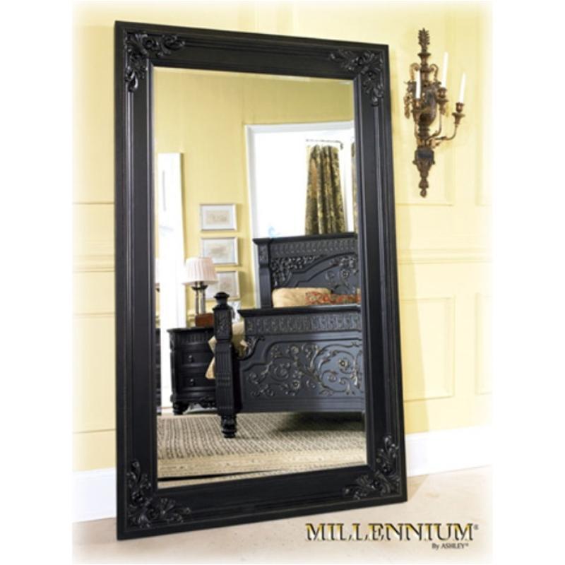 Britannia Rose Dining Room Set: B651-07 Ashley Furniture Wood Framed Floor Mirror Black Finish