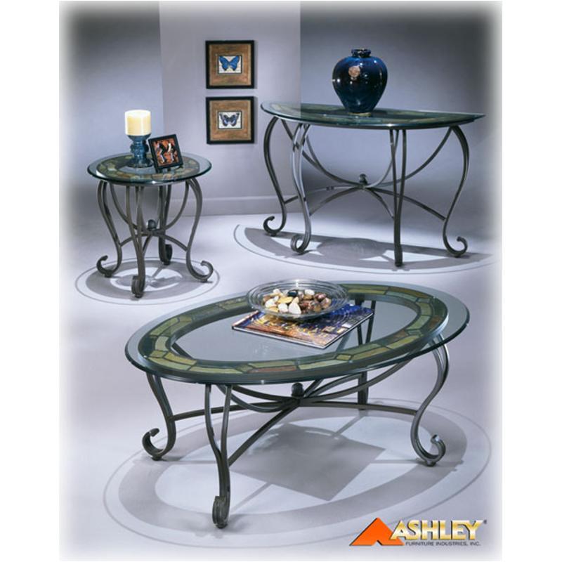 T253 0 Ashley Furniture Danbury Oval Cktl Slate Mtl Glass Top