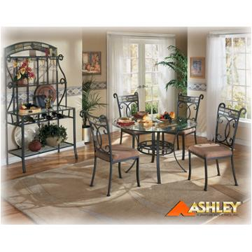 Ashley Furniture Glass Dining Sets d253-15 ashley furniture danbury round table slate/metal/glass