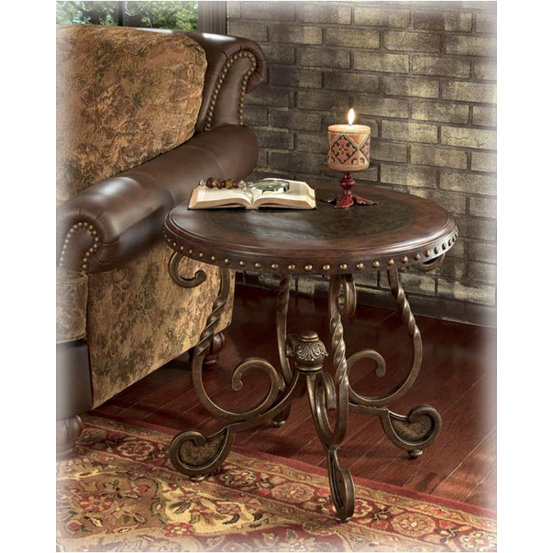 T382 6 Ashley Furniture Rafferty Dark Brown Round End Table