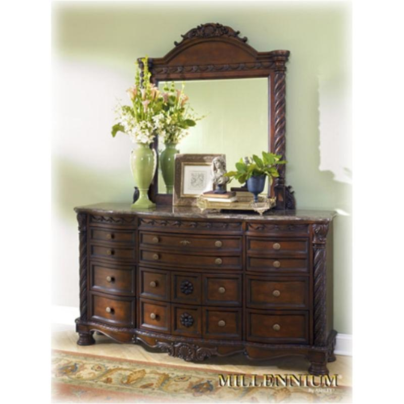 B553 31 Ashley Furniture Dresser Dark Brown Finish Marble