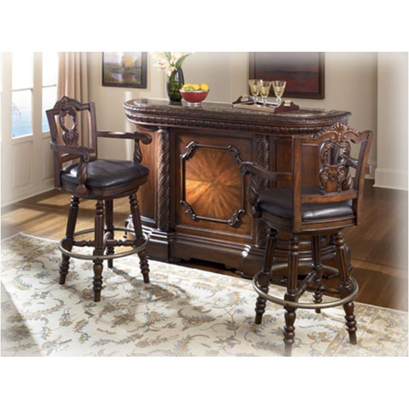 D553 65 Ashley Furniture North Shore   Dark Brown Bar With Marble Top