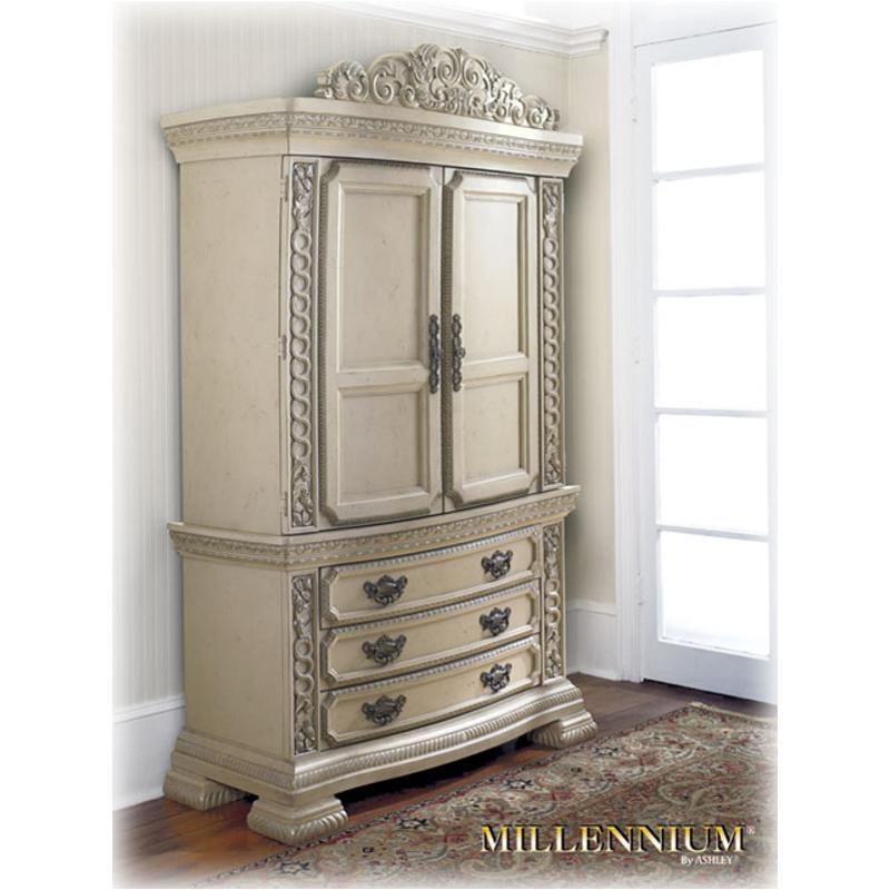 B608 49t Ashley Furniture Ballentynes Hill Armoire Top Antique White Finish