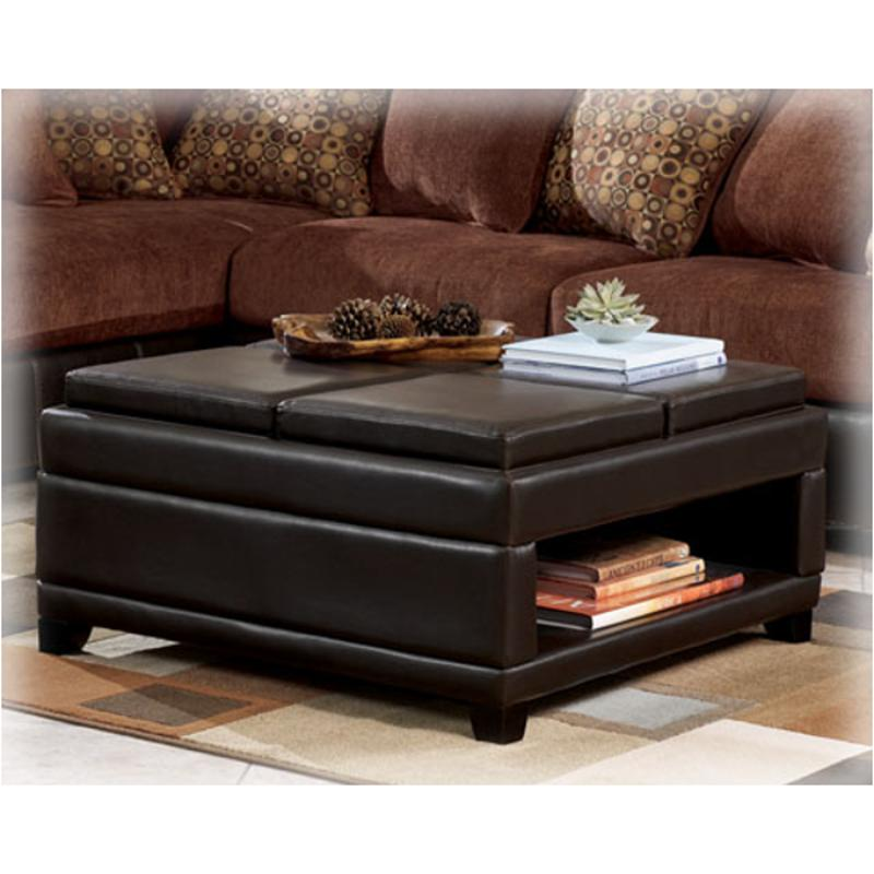 7910111 Ashley Furniture Cody Brown Ottoman W Storage 4 Flip Trays