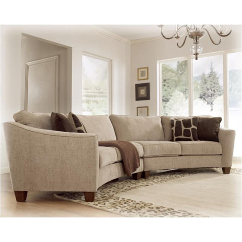 6740155 Ashley Furniture Classic Curves   Stone Laf Loveseat Sectional